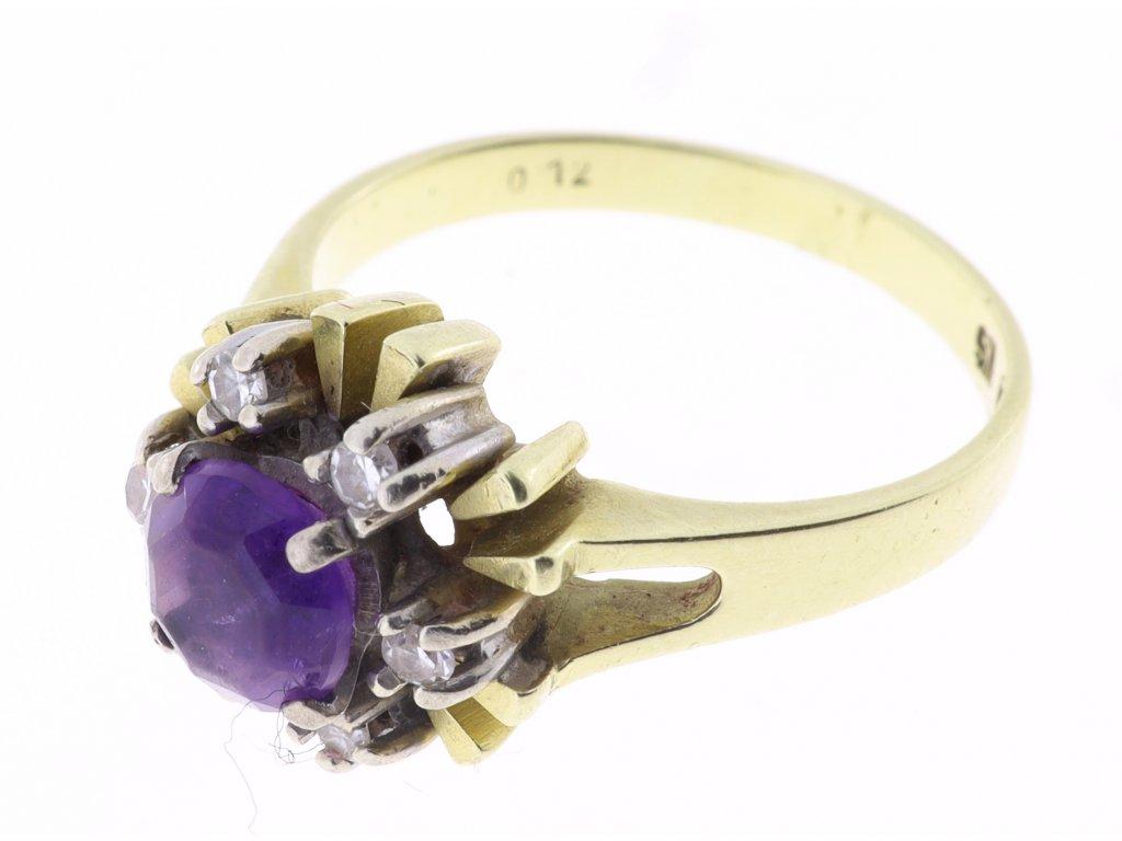 Ametystový prsten s malými brilianty
