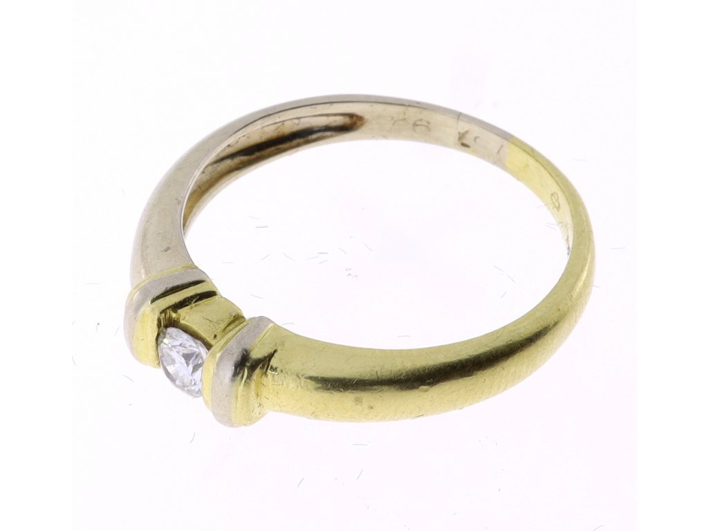 Zlatý prsten s briliantem 0,09 ct