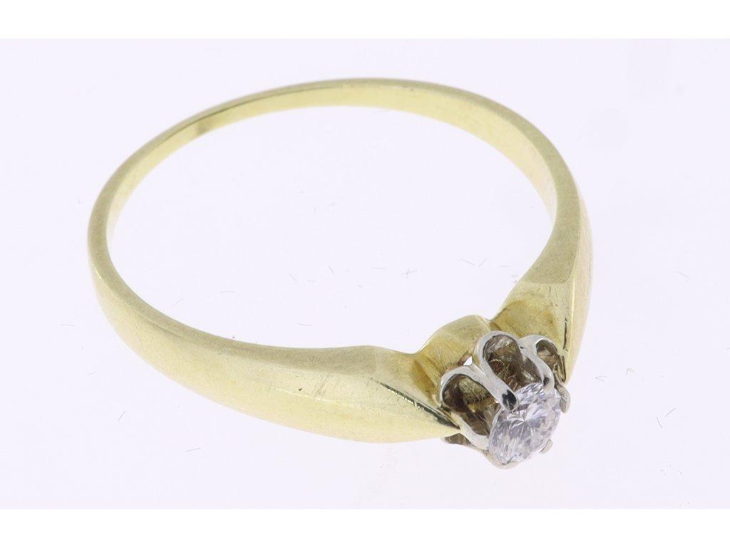 Zlatý prsten, briliant 0,17 ct