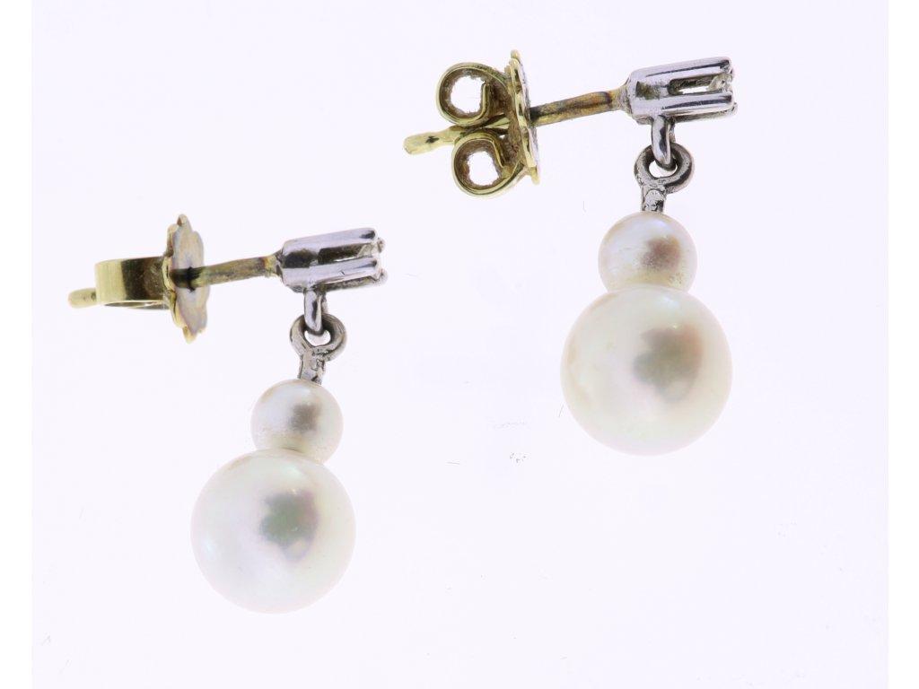 Zlaté perlové náušnice s brilianty