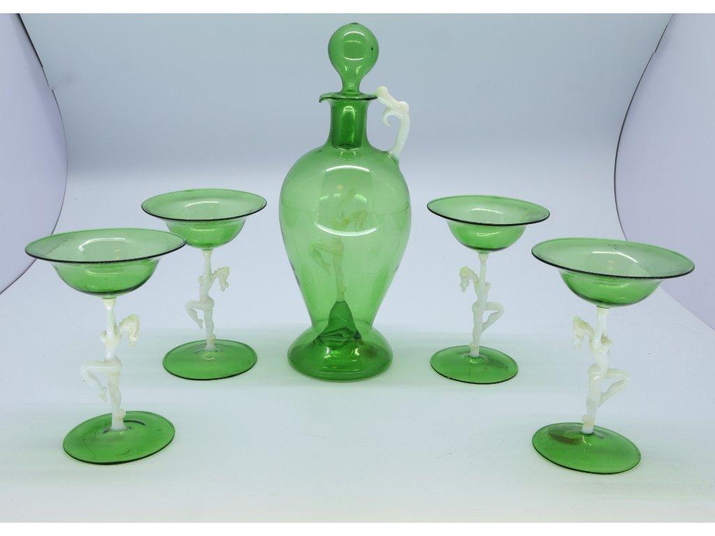 Art Deco Karafa a čtyři skleničky