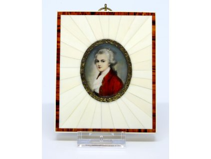 Miniatura, malba na slonové kosti, portrét Mozart