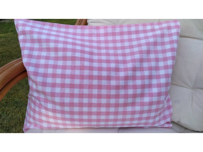Pohankový polštářek růžovobílá kostka velká