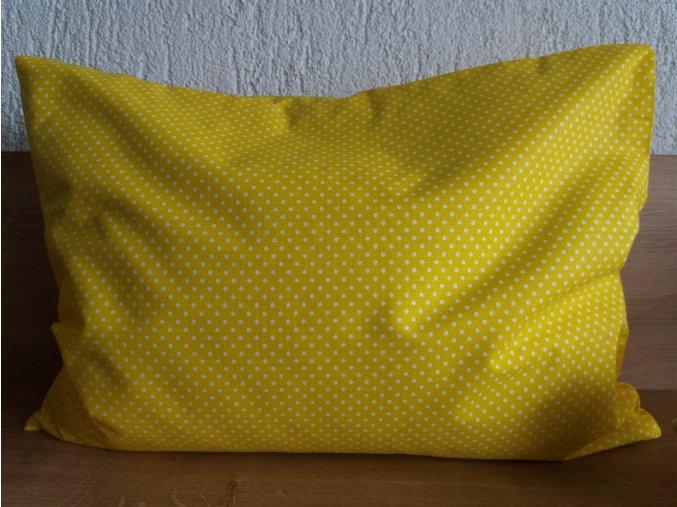 Pohankový polštářek nahřívací puntík na žluté