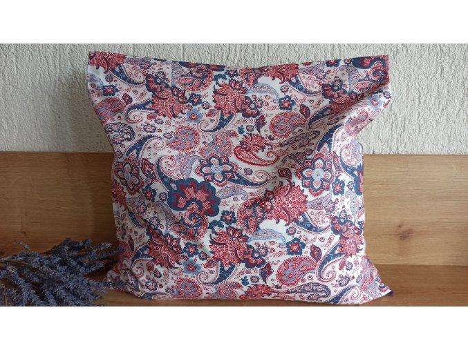 Pohankový polštářek relax červenomodrý květ