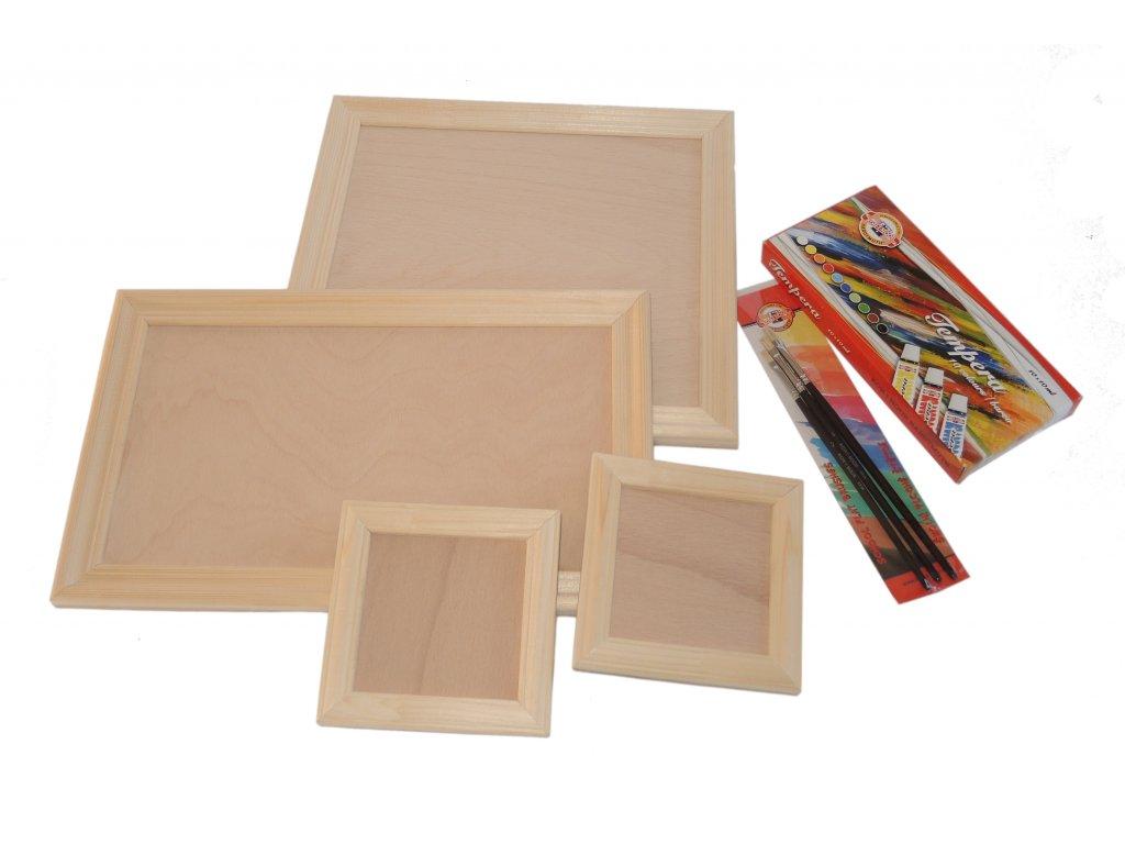 Sada dřevěných rámečků včetně temperových barev