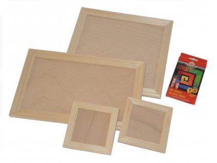 Sada dřevěných rámečků včetně olejových kříd