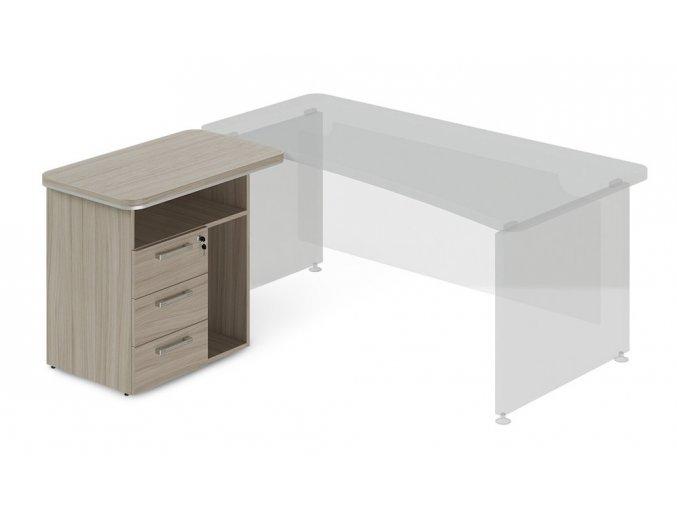 pristavny kontejner ProOffice 90x55 cm s nikou pro pc levy
