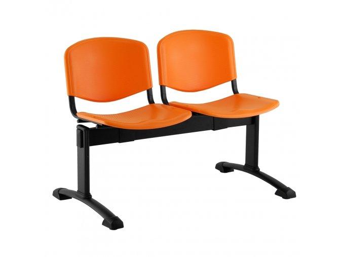plastove lavice iso i 2 sedak cerne nohy oranzova
