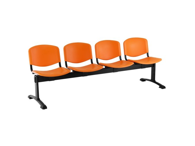 plastove lavice iso i 4 sedak cerne nohy oranzova