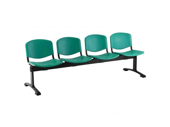 plastove lavice iso i 4 sedak cerne nohy zelena
