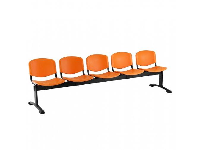 plastove lavice iso i 5 sedak cerne nohy oranzova