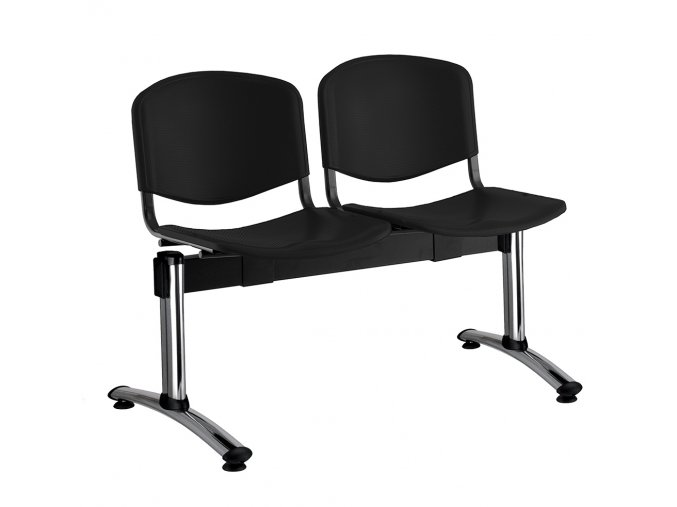 plastove lavice iso i 2 sedak chromovane nohy cerna