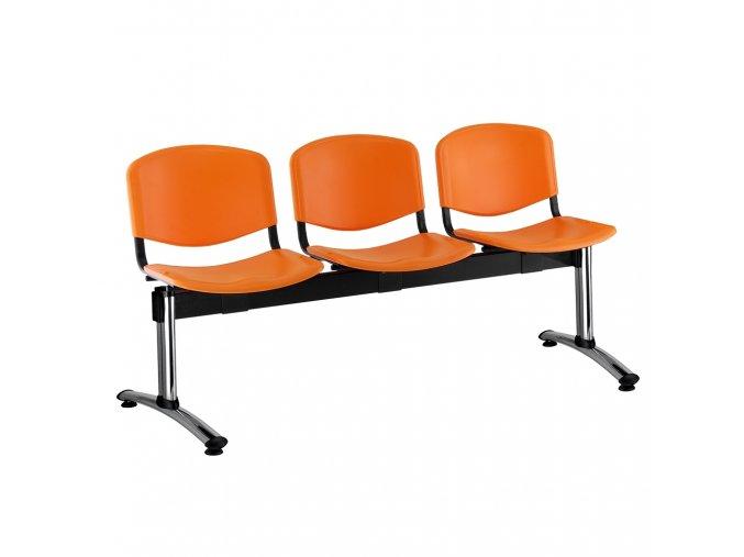 plastove lavice iso i 3 sedak chromovane nohy oranzova