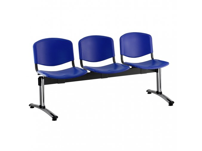 plastove lavice iso i 3 sedak chromovane nohy modra