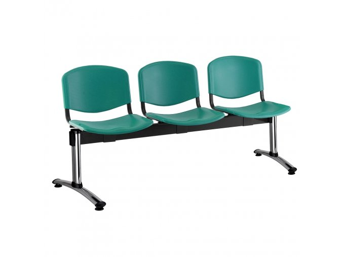 plastove lavice iso i 3 sedak chromovane nohy zelena