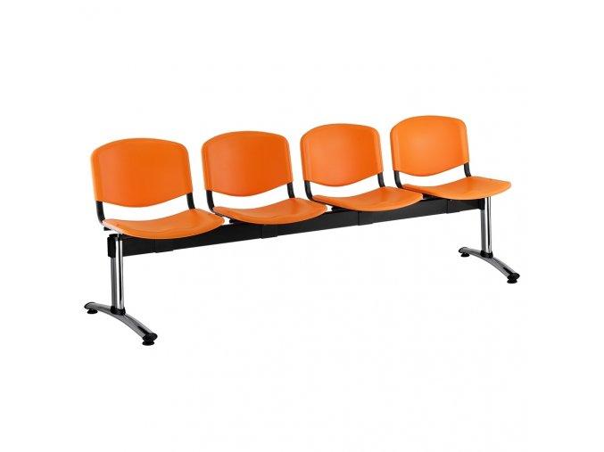 plastove lavice iso i 4 sedak chromovane nohy oranzova