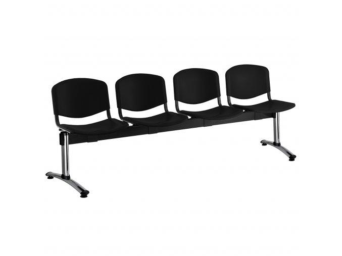plastove lavice iso i 4 sedak chromovane nohy cerna