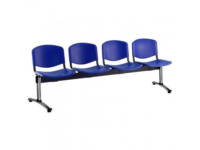 plastove lavice iso i 4 sedak chromovane nohy modra