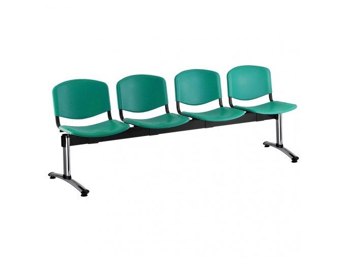 plastove lavice iso i 4 sedak chromovane nohy zelena
