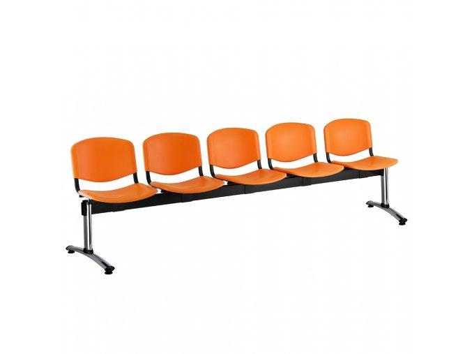 plastove lavice iso i 5 sedak chromovane nohy oranzova