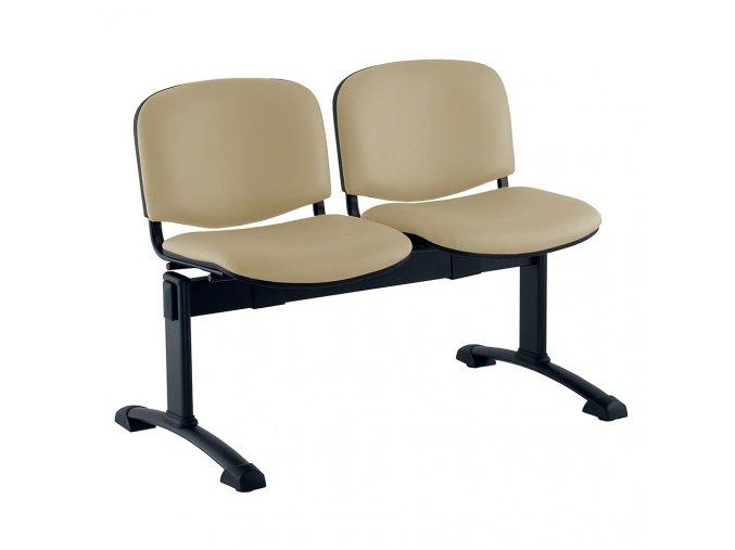 kozena lavice iso 2 sedak cerne nohy bezova