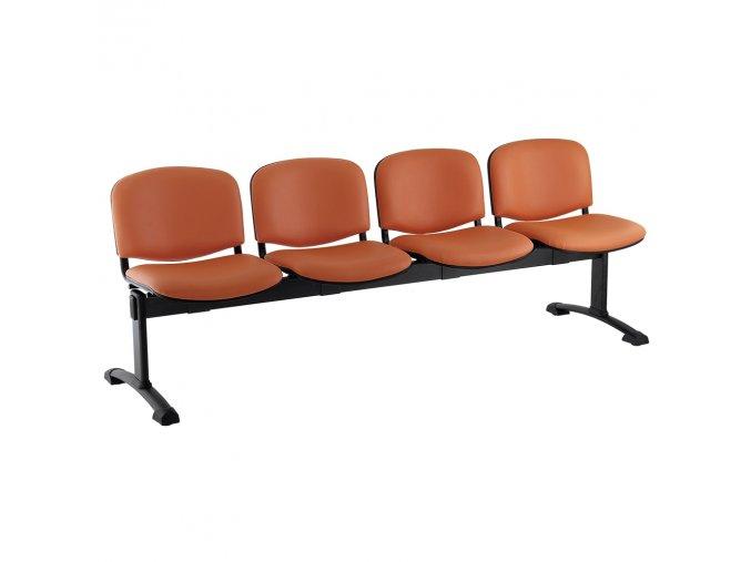 kozena lavice iso 4 sedak cerne nohy oranzova