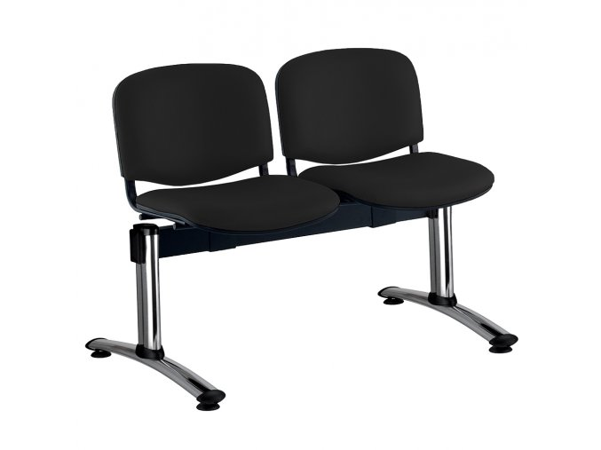 kozena lavice iso 2 sedak chromovane nohy cerna
