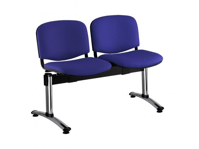 kozena lavice iso 2 sedak chromovane nohy modra