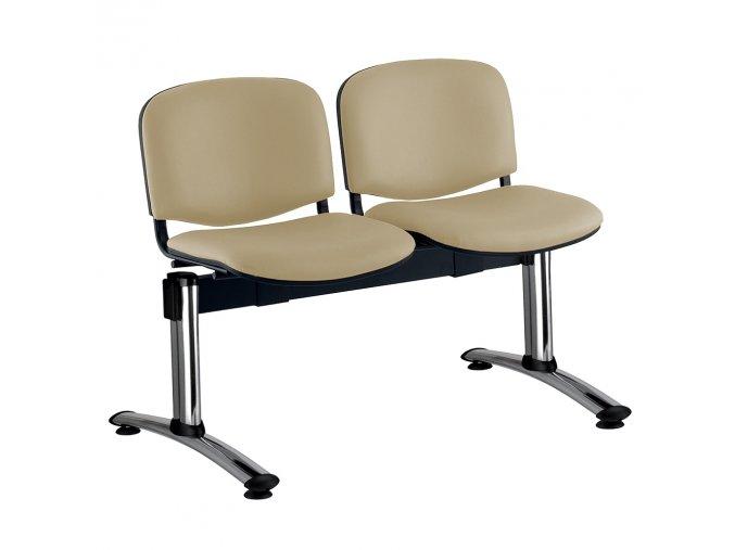 kozena lavice iso 2 sedak chromovane nohy bezova