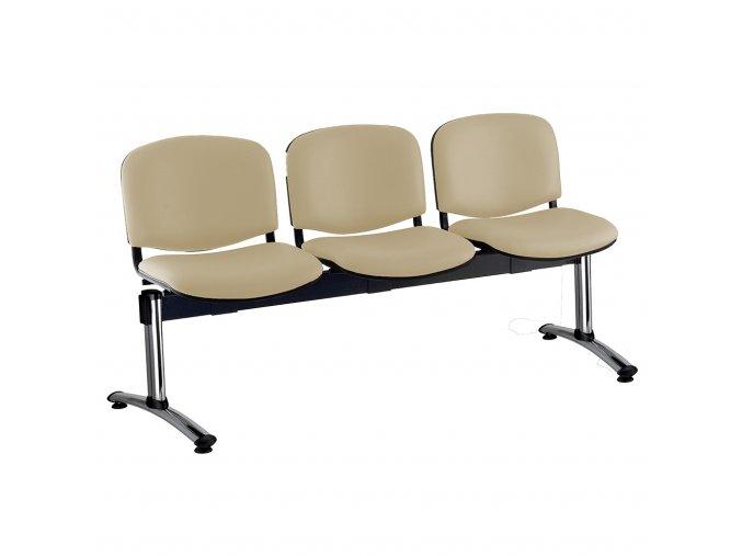 kozena lavice iso 3 sedak chromovane nohy bezova