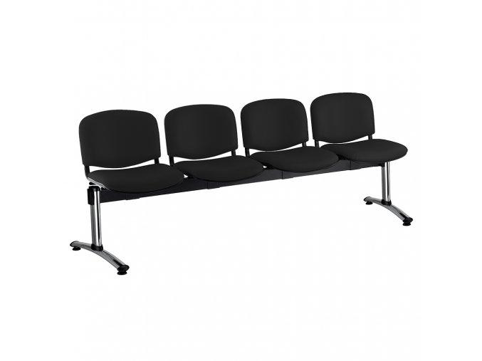kozena lavice iso 4 sedak chromovane nohy cerna