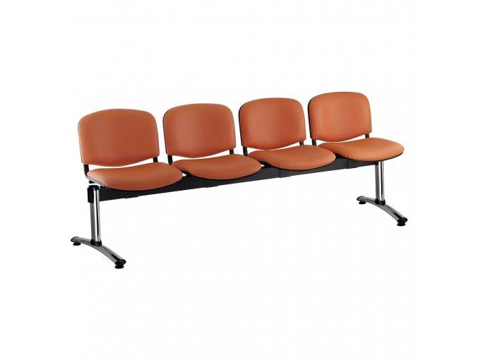 kozena lavice iso 4 sedak chromovane nohy oranzova