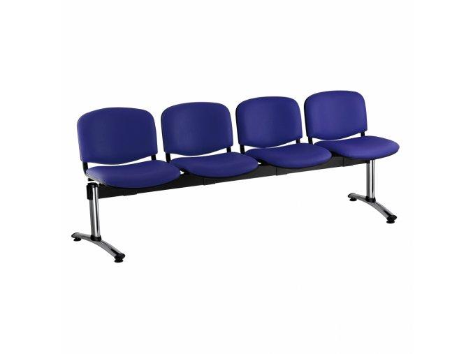 kozena lavice iso 4 sedak chromovane nohy modra