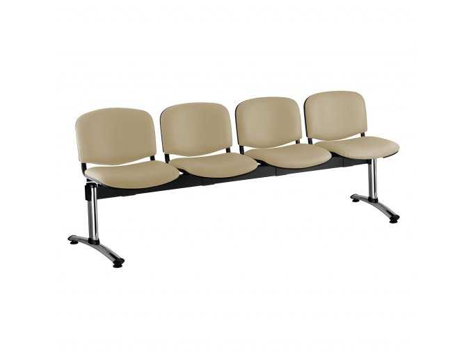 kozena lavice iso 4 sedak chromovane nohy bezova