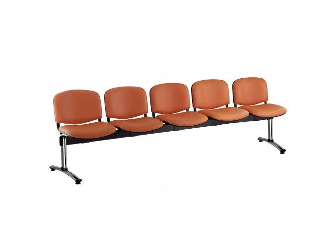 kozena lavice iso 5 sedak chromovane nohy oranzova