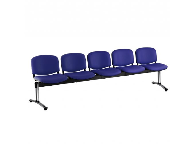kozena lavice iso 5 sedak chromovane nohy modra