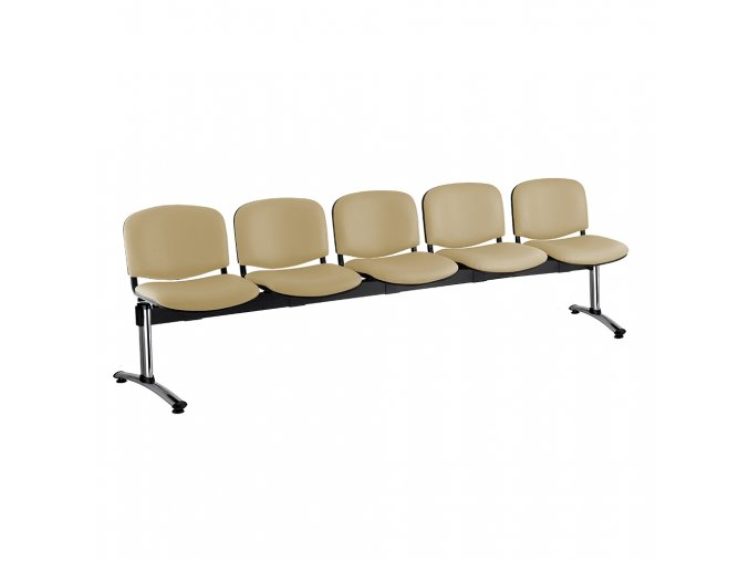 kozena lavice iso 5 sedak chromovane nohy bezova