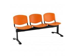 plastove lavice iso i 3 sedak cerne nohy oranzova