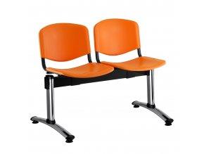 plastove lavice iso i 2 sedak chromovane nohy oranzova