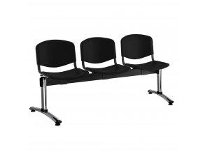 plastove lavice iso i 3 sedak chromovane nohy cerna