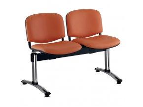 kozena lavice iso 2 sedak chromovane nohy oranzova