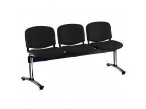 kozena lavice iso 3 sedak chromovane nohy cerna