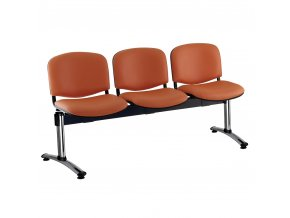 kozena lavice iso 3 sedak chromovane nohy oranzova