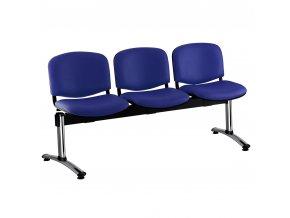 kozena lavice iso 3 sedak chromovane nohy modra