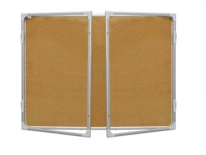 Vitrina s dvoukřídlým vertikálním otevíráním 120x180cm,korkový.vnitřek, mod.2