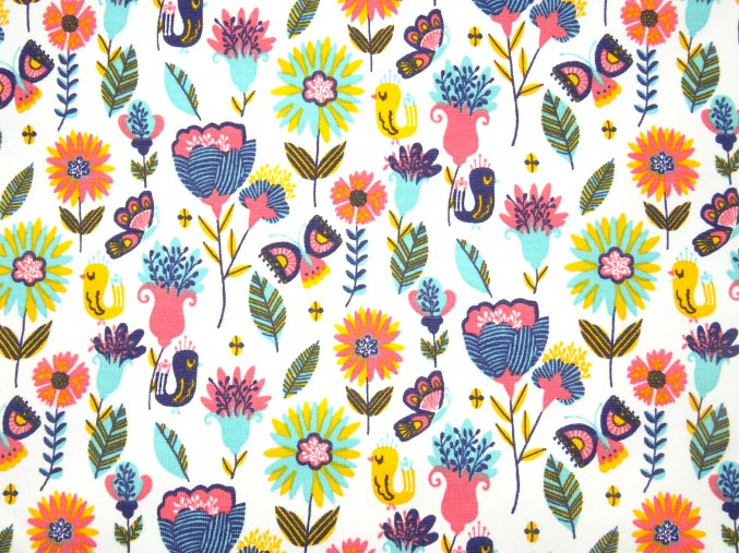 Teplákovina počesaná retro květy