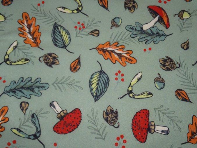 Softshell zimní Podzimní les na zelenkavé