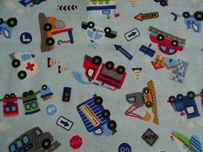 Bavlněné plátno dopravní prostředky na modré