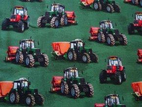 Úplet Traktor na tmavě zelené digitisk